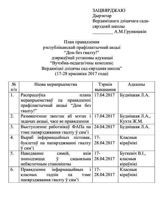 "План проведения акции ""Дом без насилия"""